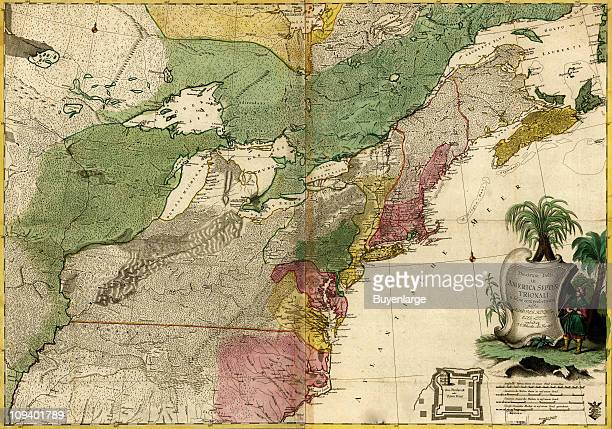 A map shows the Eastern portions of North America at the time of the French and Indian War 1755