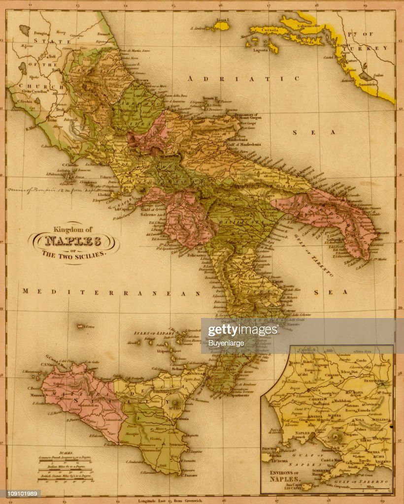 A map shows the Kingdom of Naples, Italy, 1844. News Photo - Getty Kingdom Of Naples Map on italian wars map, sardinia map, venice map, papal states, germany map, milan map, united kingdom, papal states map, kingdom of sardinia, paria peninsula map, saxe-weimar map, kingdom of italy, great britain map, house of savoy, crown of aragon, constantinople map, kingdom of prussia, two sicilies map, swedish pomerania map, republic of genoa, moldavia map, frankish empire map, ottoman empire map, joachim murat, republic of venice, confederation of the rhine, house of bourbon, italian unification, scotland map, italian peninsula map, italian social republic map, brazil map, byzantine empire map, sicilian vespers, kingdom of the two sicilies, kingdom of sicily,