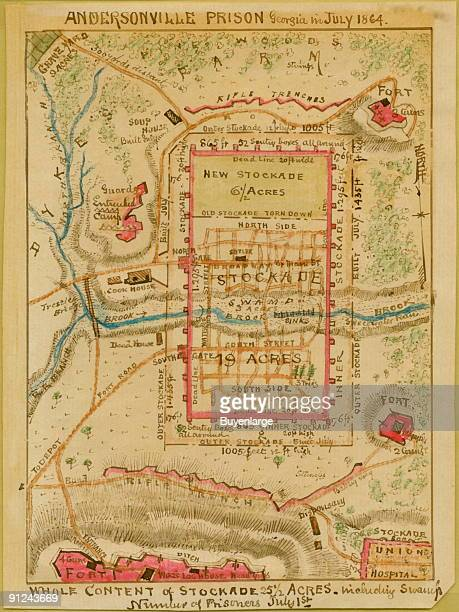 Map shows the plan of Andersonville Prison Camp including the stockade the town of Anderson Station on the Macon and Americus Rail Road the locations...