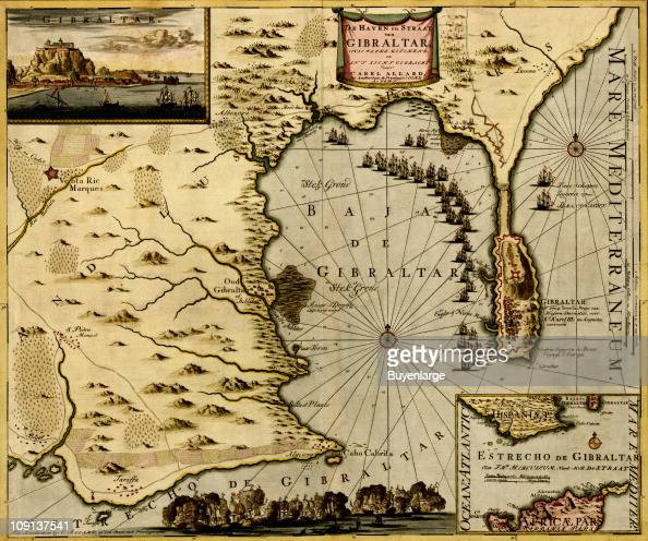 Map Of Spain 1700.A Map Shows The Straits Of Gibraltar And Its Defenses Spain 1700