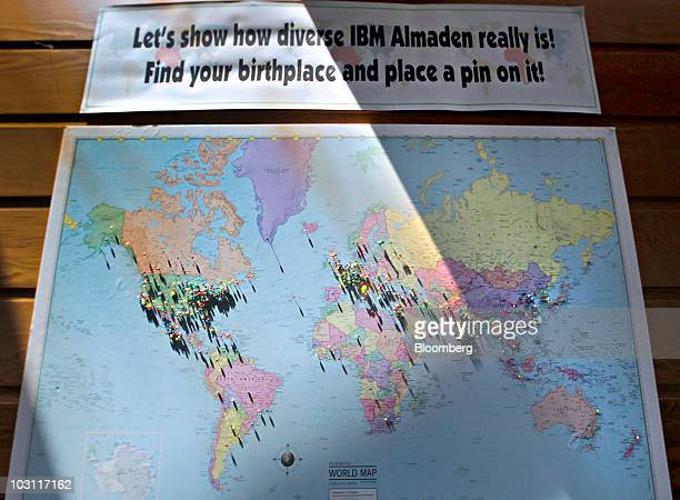 Map shows the various birthplaces of employees at the International Business Machines Corp. Almaden research facility in San Jose, California, U.S.,...