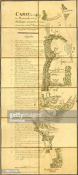 Map shows the various combat locations during the Battle of Monmouth New Jersey June 28 1778 The text at left reads in part 'Carte de l'affaire de...