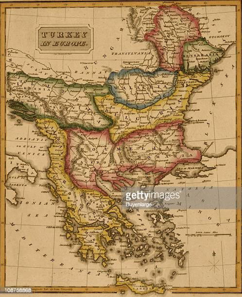Map shows 'Turkey in Europe' a region encompassing Greece Bulgaria Romania and others 1817