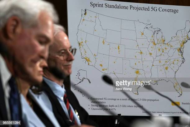 A map that shows Sprint's standalone projected 5G coverage is on display during a hearing before the Antitrust Competition Policy and Consumer Rights...