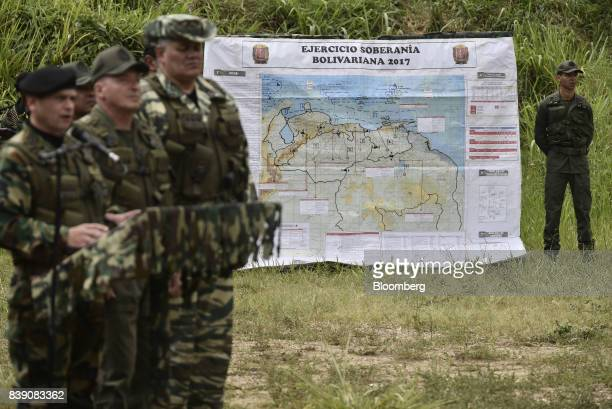 A map titled 'Bolivarian Sovereignty Exercise' is displayed as Chief Admiral Remigio Ceballos Ichaso commander of the strategic command operations of...