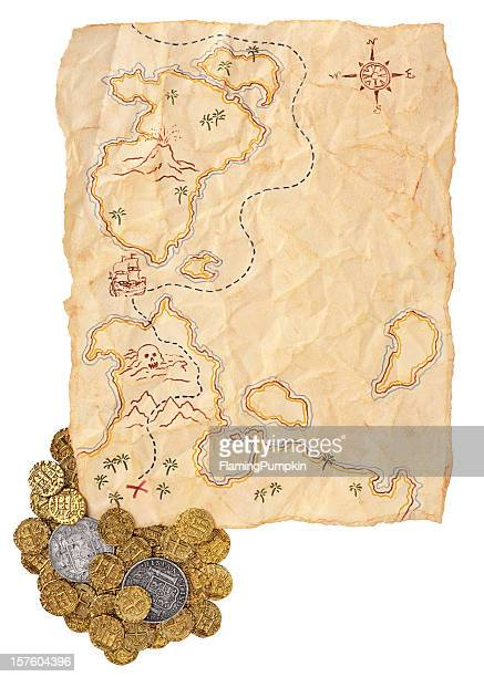Map to Buried Treasure with Doubloons. Isolated on White.
