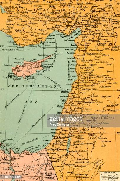 Map To Illustrate The Campaign in Palestine', 1919. Map of the Eastern Mediterrean and the Middle East, showing Cyprus, Port Said in Egypt, parts of...
