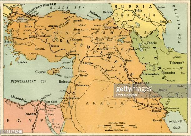 Map to Illustrate the Mesopotamian Expedition' 1919 Showing the Middle Eastern theatre of World War I including the Turkish or Ottoman Empire and...