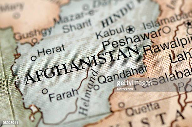a map with a close-up focus on afghanistan - afghanistan stock pictures, royalty-free photos & images