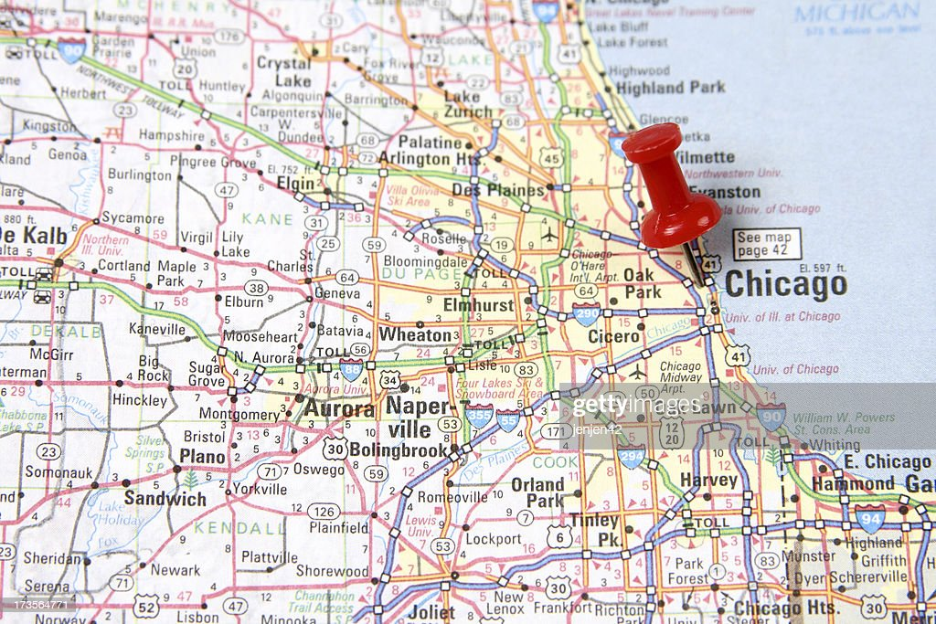 Map with Pin on Chicago : Stock Photo