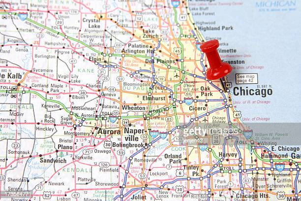map with pin on chicago - chicago illinois stock pictures, royalty-free photos & images