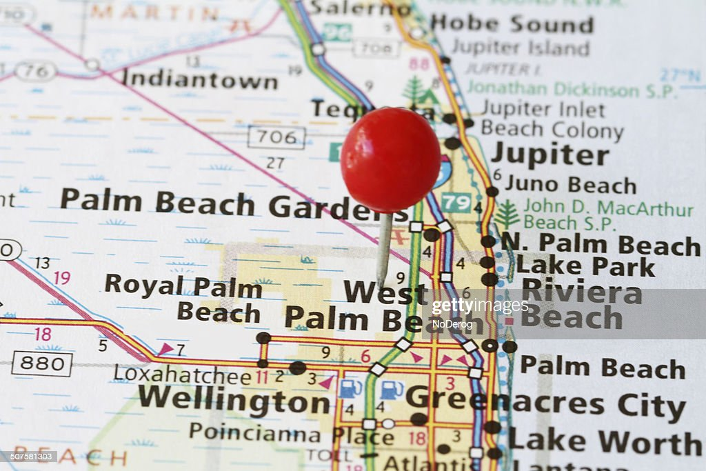 Map With Stick Pin On West Palm Beach Florida Stock Photo Getty Images