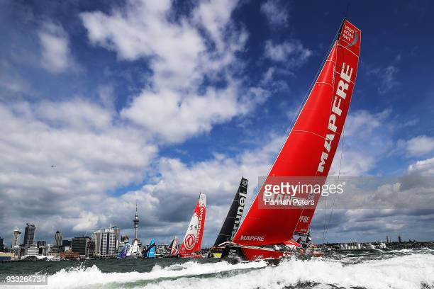 Mapfre leads out during the start of leg seven of the Volvo Ocean Race on March 18 2018 in Auckland New Zealand