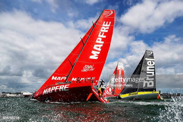 Maphre Dongfeng Race Team and Brunel during the start of leg seven of the Volvo Ocean Race on March 18 2018 in Auckland New Zealand