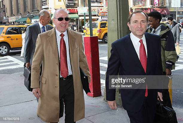 Maple Leaf Sports Entertainment Chair Larry Tanenbaum and NHL Commissioner Gary Bettman arrive for a negotiation session with the NHL Players...