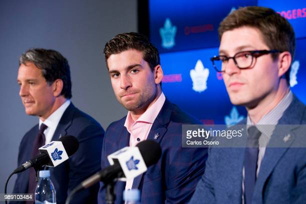 Maple Leafs president Brendan Shanahan, John Tavares and Leafs general manager Kyle Dubas during the announcement. The Toronto Maple Leafs have...
