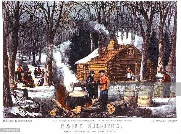 Maple Sugaring Early Spring in the Northern Woods Lithograph Currier Ives 1872