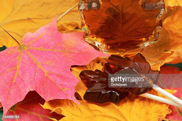 maple syrup and lollipop candy - maple tree stock pictures, royalty-free photos & images