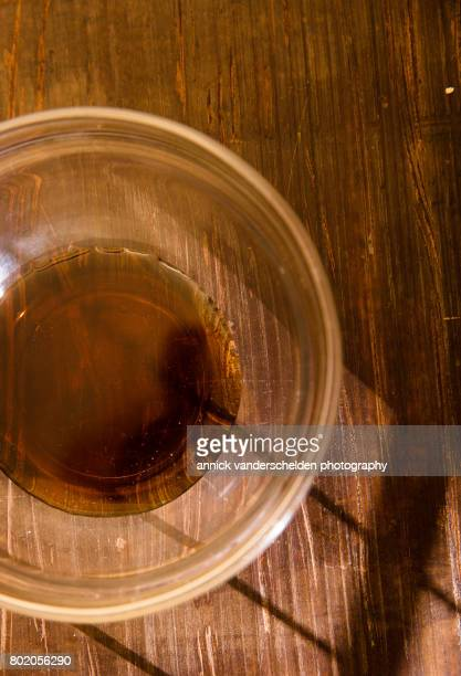 Maple syrup in a glass bowl.
