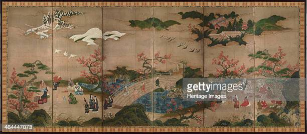 Maple viewers A sixsection folding screens 16th century Found in the collection of the Tokyo National Museum