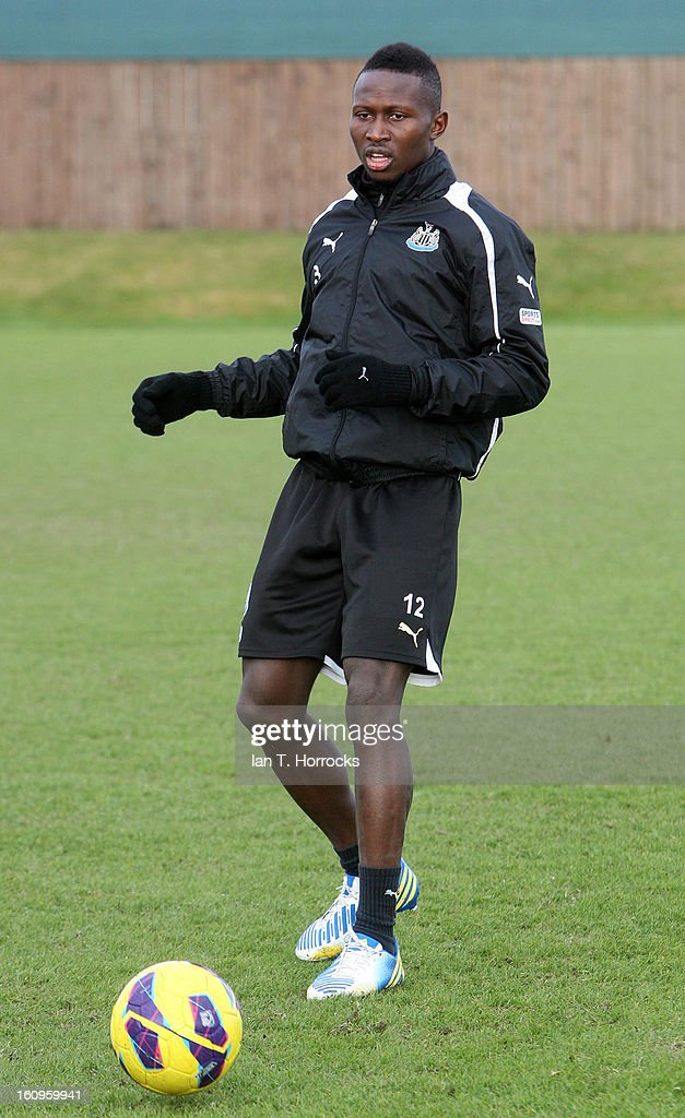 Mapou Yanga Mbiwa during a Newcastle United training session at the Little Benton training ground on February 08, 2013 in Newcastle upon Tyne, England.