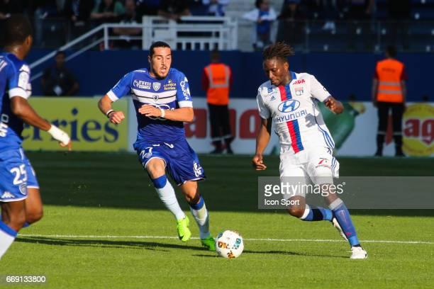 Mapou Yanga Mbiwa of Lyon during the Ligue 1 match between SC Bastia and Olympique Lyonnais Lyon at Stade Armand Cesari on April 16 2017 in Bastia...