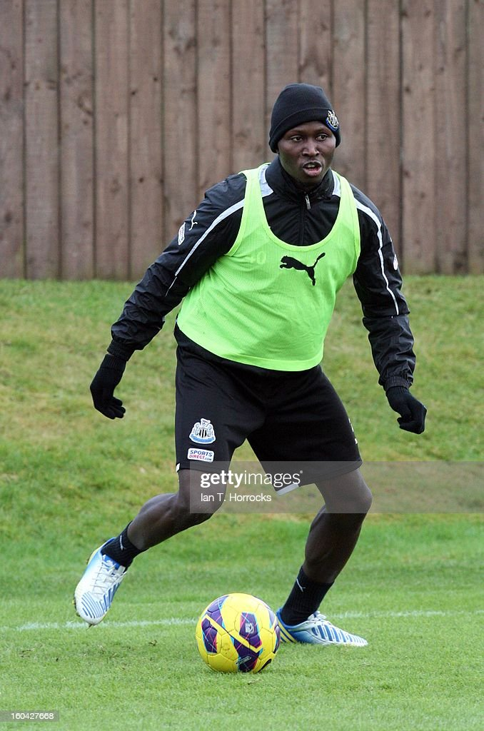 Mapou Yanga-Mbiwa during a Newcastle United training session at The Little Benton training ground on January 31, 2013 in Birmingham, England.