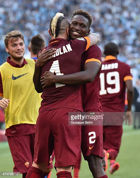 Mapou YangaMbiwa of AS Roma celebrates after scoring the goal 12 during the Serie A match between SS Lazio and AS Roma at Stadio Olimpico on May 25...