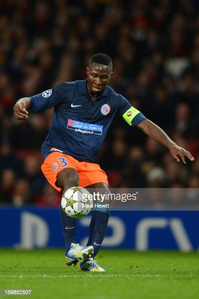 Mapou Yangambiwa of Montpellier in action during the UEFA Champions League group B match between Arsenal FC and Montpellier Herault SC at Emirates...