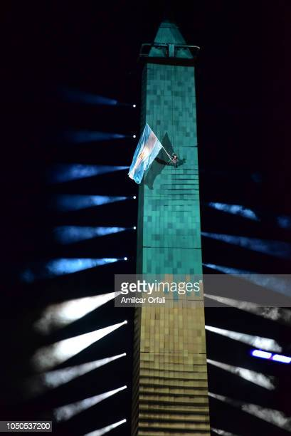 3D mapping show is displayed on the Obelisco during the opening ceremony of the Buenos Aires 2018 Youth Olympic Games at Obelisco monument on October...