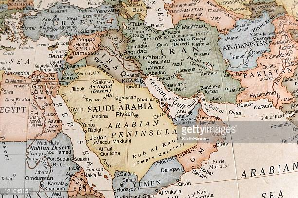 maps of countries in middle east - iran stockfoto's en -beelden