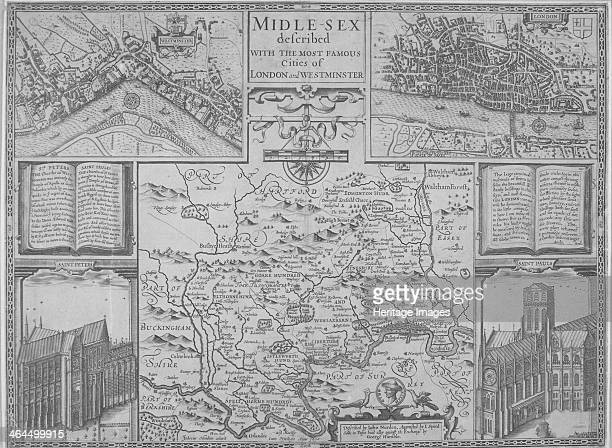 Maps of London 1610 The upper left section shows the City of Westminster and River Thames The upper right section shows the City of London and River...
