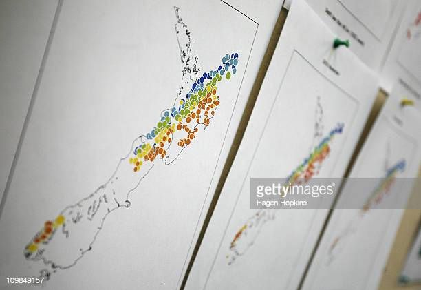 Maps of New Zealand at GNS Science display earthquake related information following the recent Christchurch earthquake at the Wellington offices on...