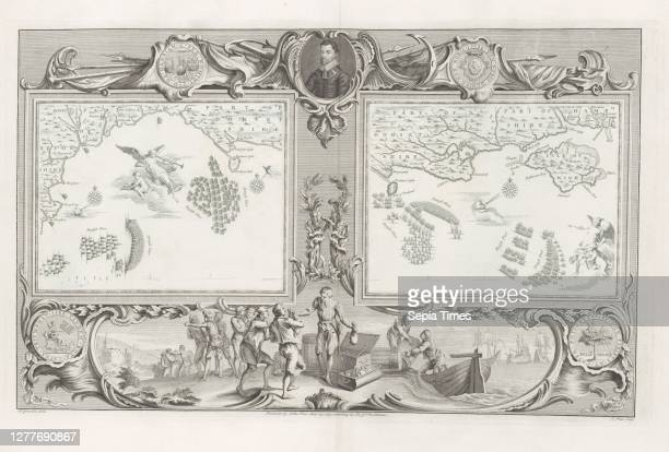 Maps of the Spanish Armada , Two cards with the Spanish and English fleet in The Channel near the Isle of Portland and Weymouth, within an ornamental...