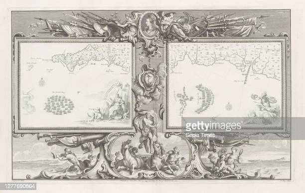 Maps of the Spanish Armada , Two cards with the Spanish fleet in the Channel below the coast of Cornwall and Devon, within an ornamental frame. At...