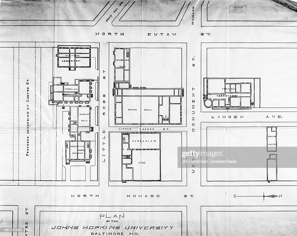 Maps, Old Campus Map of Johns Hopkins University, showing ... on hopkins organizational chart, johns hopkins map, hopkins state map, hopkins library hours, hopkins hospital map, jhu map, er hopkins map, hopkins university, jhh map,