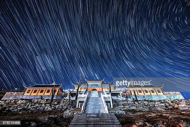 Maquan Temple under Star Trails in Shandong, China