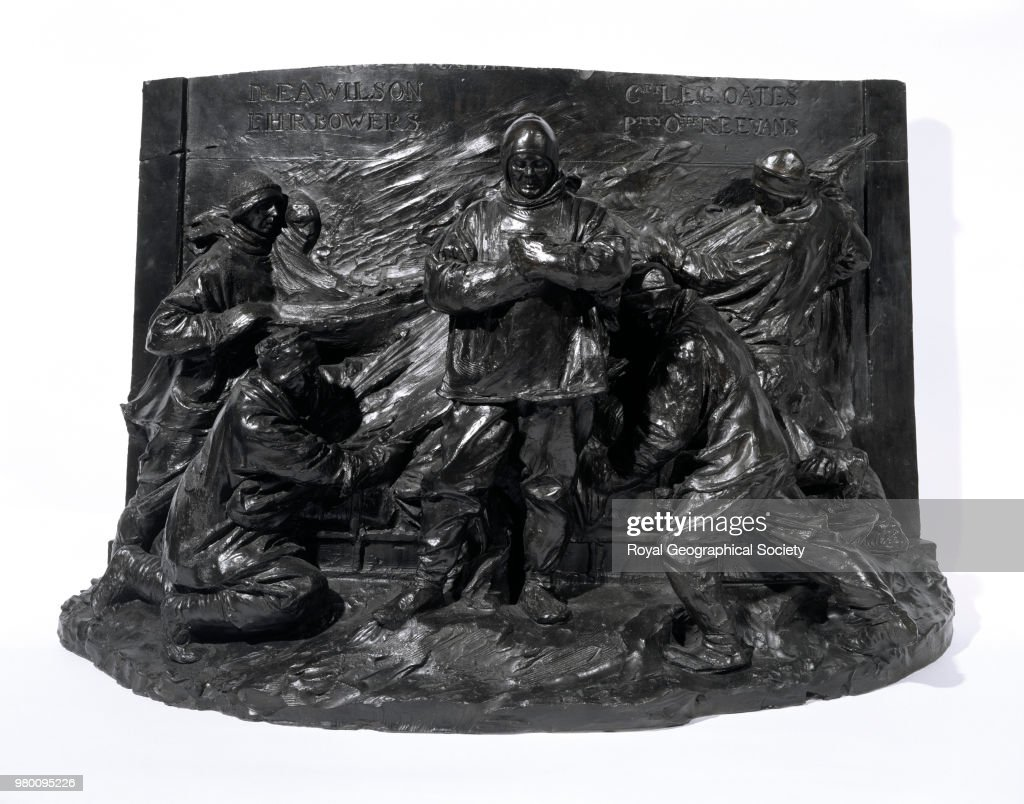 Maquette of Scott and his four companions on the South Pole Journey, This sketch model (three dimensional) in plaster made by the late Derwent Wood R.A. for a memorial to Captain Scott was never executed; it was donated to the Society in 1927, Antarctica, 1915. British Antarctic Expedition 1910-1913.