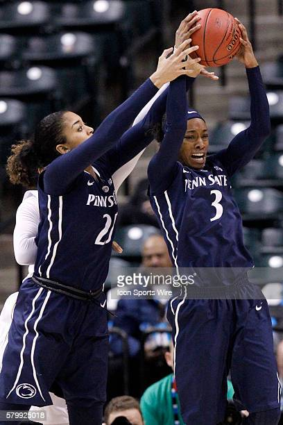 Penn State Nittany Lions guard Brianna Banks and Penn State Nittany Lions forward Jaylen Williams go up for the rebound during the Women's Big Ten...