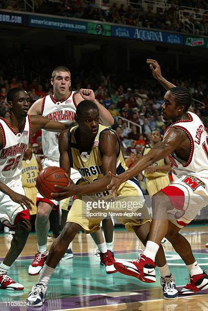 Mar 09, 2006; Greensboro, NC, USA; Georgia Tech Jeremis Smith against Maryland Anthony Morrow and Sterling Ledbetter during the ACC Tournament, the...