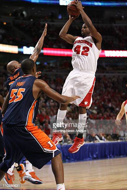 Mar 10 2007 Chicago IL USA Illinois RICH MCBRIDE against Wisconsin ALANDO TUCKER during the Big Ten Tournament at the United Center in Chicago Ill on...