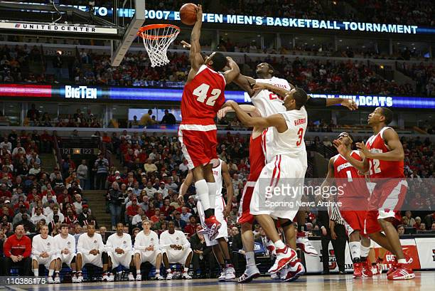 Mar 11 2007 Chicago IL USA Wisconsin ALANDO TUCKER against Ohio State GREG ODEN during the Big Ten Tournament at the United Center in Chicago Ill on...