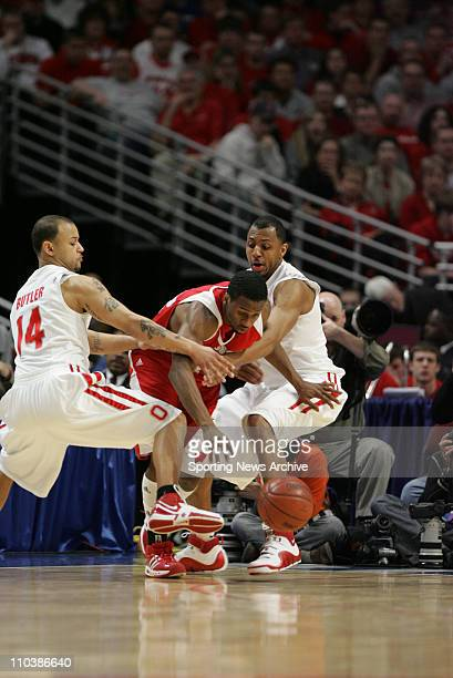 Mar 11 2007 Chicago IL USA Wisconsin ALANDO TUCKER against Ohio State JAMAR BUTLER and Ivan Harris during the Big Ten Tournament at the United Center...