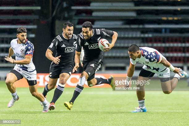 Sione Molia of New Zealand breaks through during the Pool match between USA and New Zealand at the Canada Sevens held March 1213 2016 at BC Place in...