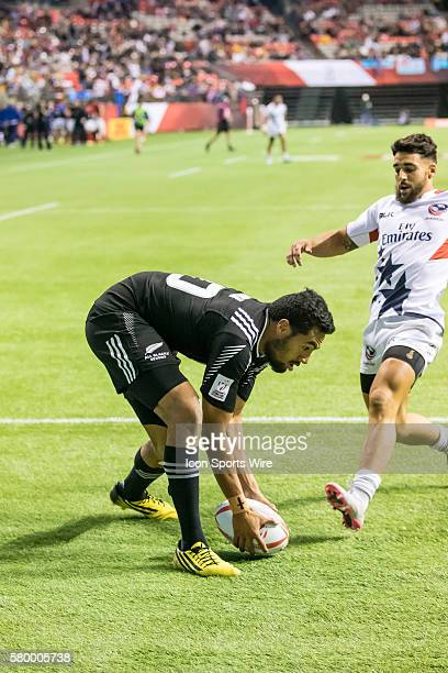 Sione Molia of New Zealand scores during the Pool match between USA and New Zealand at the Canada Sevens held March 1213 2016 at BC Place in...