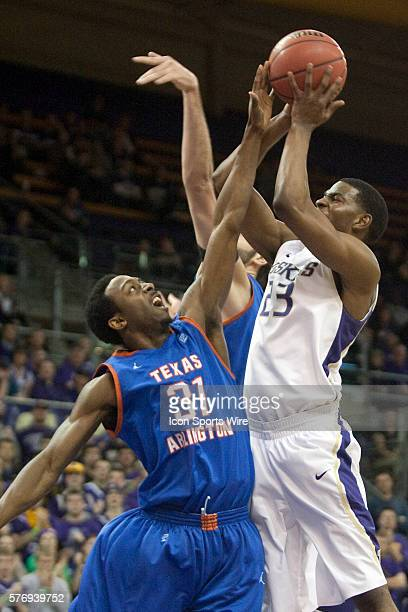 Washington's CJ Wilcox drives to the basket against UT Arlington's Jordan Reves and LaMarcus Reed Washington defeated UT Arlington 8272 in the first...