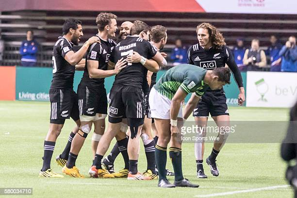 Happy All Blacks celebrate after winning the Cup Final match between New Zealand and South Africa at the Canada Sevens held March 1213 2016 at BC...