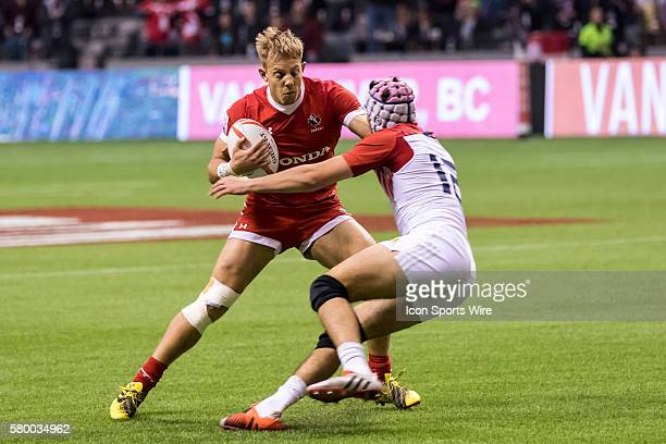 Harry Jones of Canada face to face with Theo Millet of France during the Bowl Final match between Canada and France at the Canada Sevens held March...