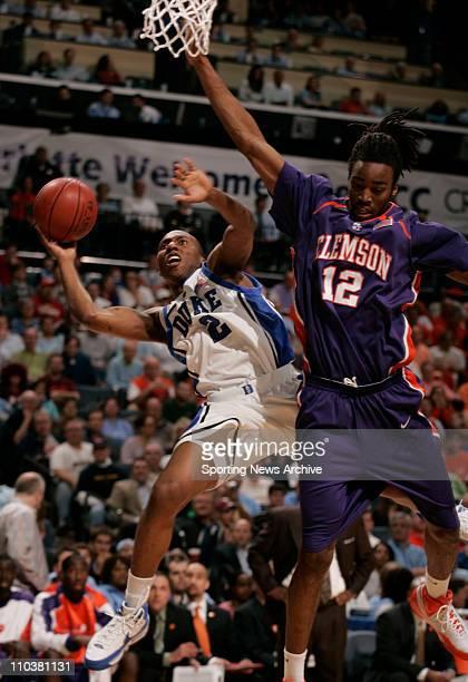 Mar 15, 2008 - Charlotte, North Carolina, USA - Duke NOLAN SMITH against Clemson RAMOND SKES during the Atlantic Coast Conference ACC basketball...