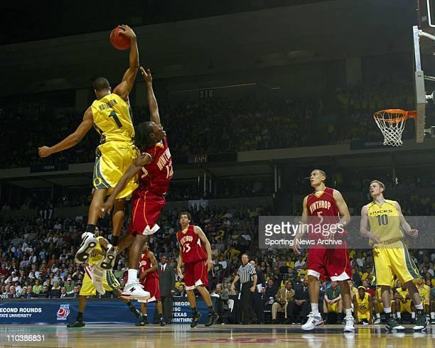 Mar 16 2007 Spokane WA USA Oregon MALIK HAIRSTON against Winthrop TORRELL MARTIN during the second round of the NCAA Tournament in Spokane Wash on...